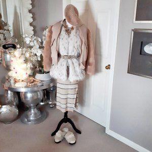 NWT Buffalo David Bitton knit stripe midi skirt, S